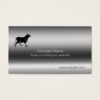 Bull Silhouette Metallic-look Business Card