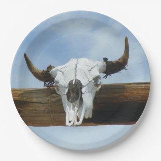 Bull Skull 9 Inch Paper Plate
