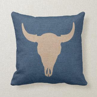 Bull Skull and Horns Denim Blue Throw Pillow