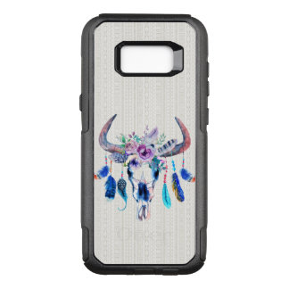 Bull Skull Purple Flowers And Colorful Feathers OtterBox Commuter Samsung Galaxy S8+ Case