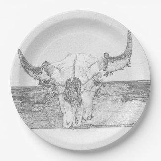 Bull Skulls Pencil Sketch 9 Inch Paper Plate