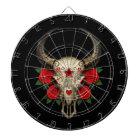 Bull Sugar Skull with Red Roses on Black Dartboard