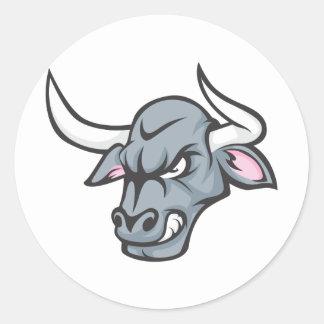 Bull T Shirt | Custom Angry Bull Head T Shirt Round Sticker
