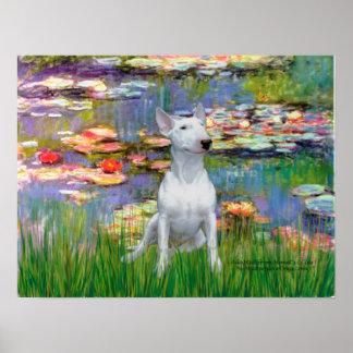 Bull Terrier 1 - Lilies 2 Poster