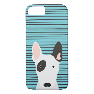Bull Terrier and Hand Drawn Stripes Pattern iPhone 8/7 Case
