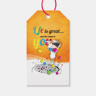 """Bull Terrier Cartoon gift tag """"Life is great ..."""""""