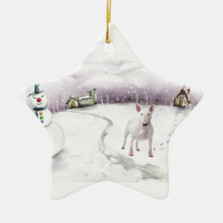 Bull Terrier Ceramic Ornament