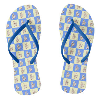Bull Terrier Checkered Flip Flops