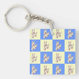 Bull Terrier Checkered Keychain