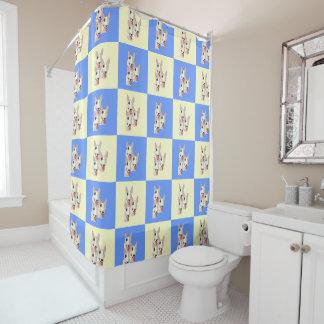 Bull Terrier Checkered Shower Curtain