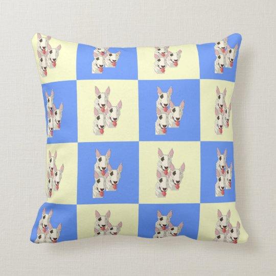 Bull Terrier Chequered Throw Pillow