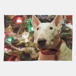 bull terrier Christmas present tree Kitchen Towel