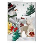 Bull Terrier Christmas with Snowman Card