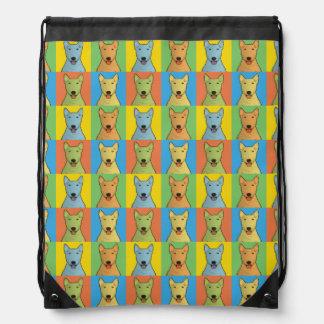 Bull Terrier Dog Cartoon Pop-Art Drawstring Bag