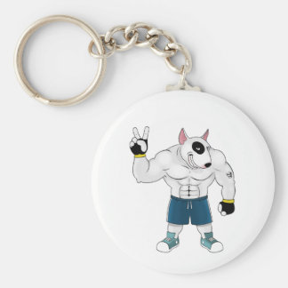 bull terrier dog  fight keychain
