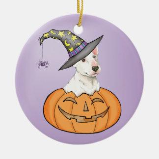 Bull Terrier Halloween Round Ceramic Ornament
