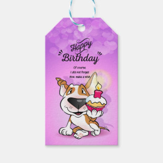 """Bull Terrier """"Happy Belated Birthday"""" Gift Tag"""