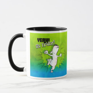 "Bull Terrier ""It's Friday"" Cartoon Coffee Mug"