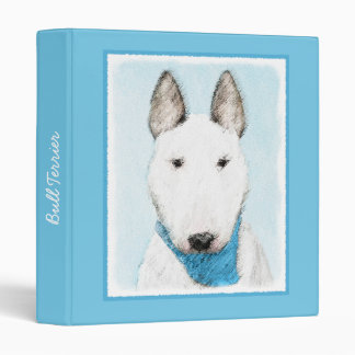 Bull Terrier Painting - Cute Original Dog Art Binder
