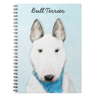 Bull Terrier Painting - Cute Original Dog Art Notebook