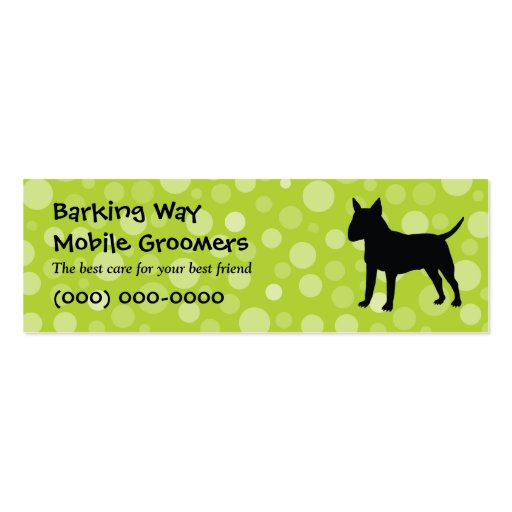 Bull Terrier Pet Care Lime Business Card Template