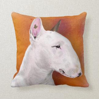Bull Terrier Pillow on Orange Background