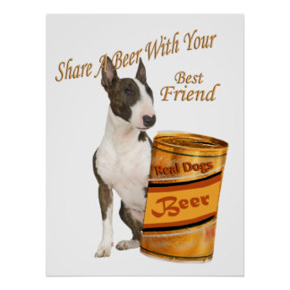 Bull Terrier Shares A Beer Print
