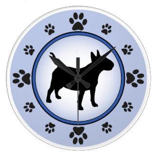 Bull Terrier Silhouette Large Clock