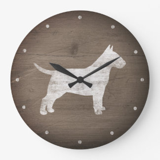 Bull Terrier Silhouette Rustic Style Large Clock
