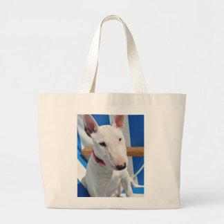 bull-terrier-sitting large tote bag