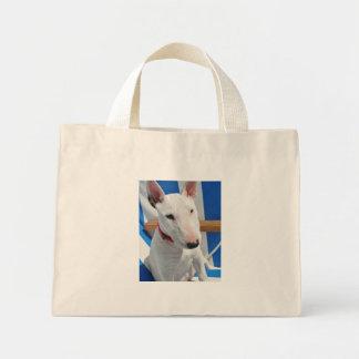 bull-terrier-sitting mini tote bag