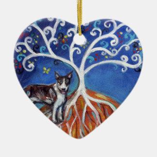 Bull Terrier spiritual Tree Ceramic Ornament