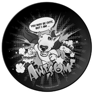 Bull Terrier superhero cartoon deco plate