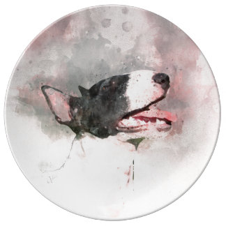 Bull Terrier watercolor painting deco plate
