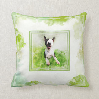 Bull Terrier watercolor pillow
