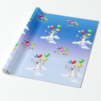 "Bull Terrier Wrapping Paper ""Happy Birthday"""