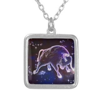 Bull universe silver plated necklace