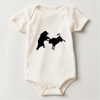 Bull Versus Bear Silhouette Concept Baby Bodysuit