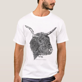 Bull with Horns Pen and Ink Drawing T-Shirt