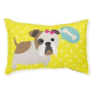 Bulldog and Bone Yellow Polka Dot Design Dog Bed Small Dog Bed