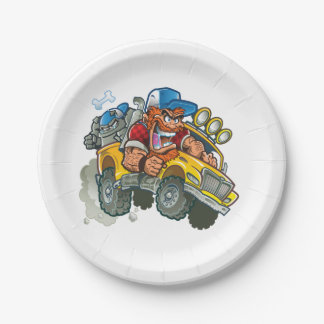 Bulldog and Redneck Monster Truck Paper Plate