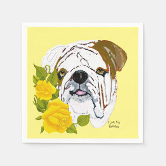 Bulldog and Yellow Roses Paper Napkins