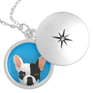 Bulldog art - french bulldog silver plated necklace