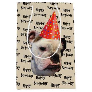 Bulldog Birthday Party Hat Medium Gift Bag