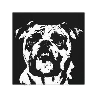 Bulldog Black & White Wrapped Canvas Print