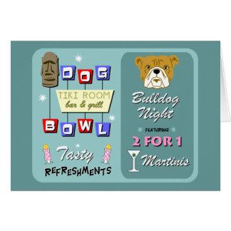 Bulldog Bowling Tiki Night Card