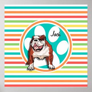 Bulldog Bright Rainbow Stripes Poster