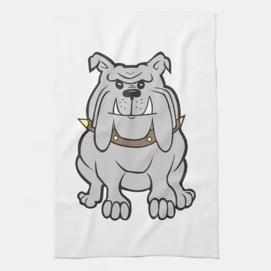 Bulldog cartoon kitchen towel