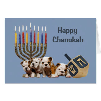 Bulldog Chanukah Card Menorah Dreidel2