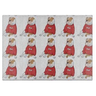 bulldog chillin in sweater cartoon cutting board